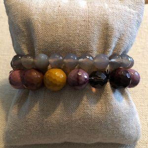 Set of 2 Sara Blaine beaded stretch bracelets